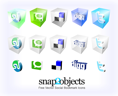 Free 3D Vector Social Bookmark Icons