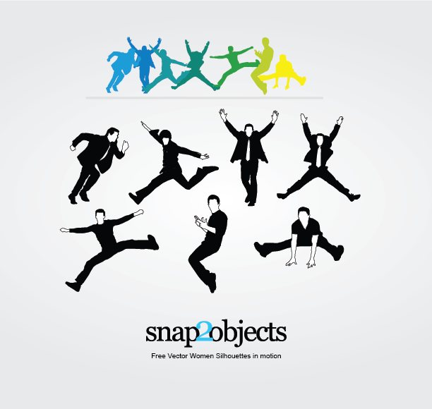 7 Free Vector men silhouettes in motion they jump, dance and run along with ...