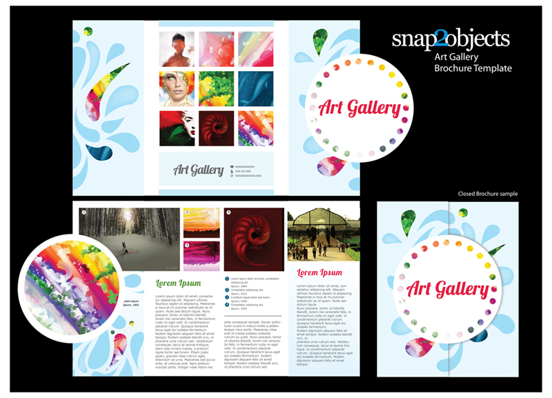 Free art gallery brochure vector template for Art brochure templates free