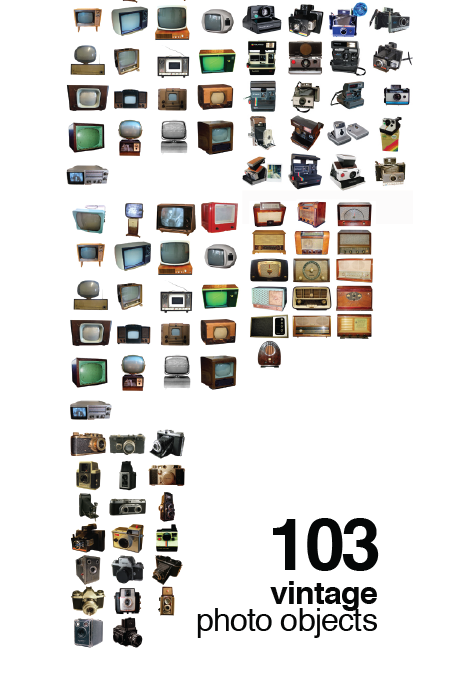 103 Vintage Photo Objects. Radios, Cameras and TV sets
