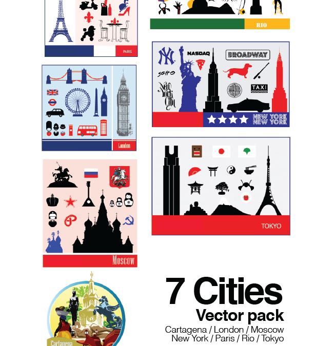 7 Cities Vector Pack. Cartagena ,London,Moscow, New York,Paris,Rio,Tokyo